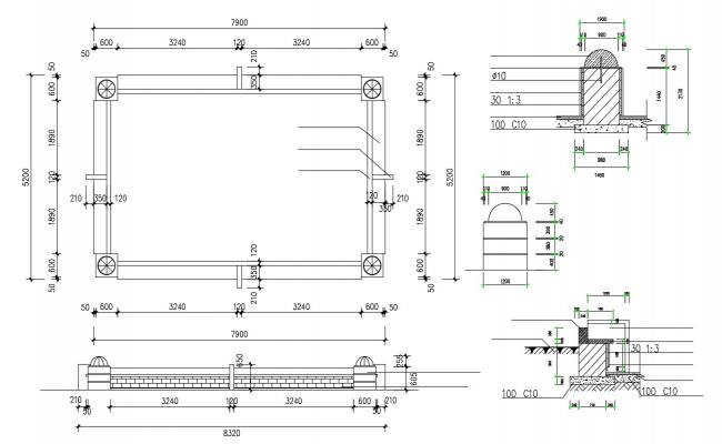 Section Design Of Wall AutoCAD File Free