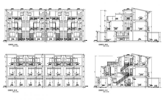 Section Drawing of the residential apartment with detail dimension in dwg file