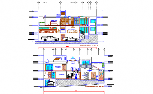 Section Estate 3 levels sloping dwg file