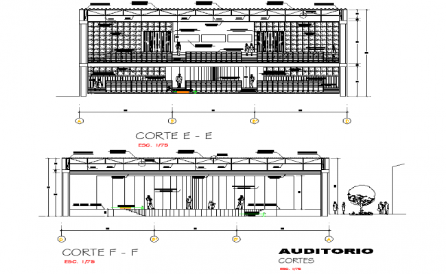 Section Office building auditorium conf room bar restaurant plan detail dwg file
