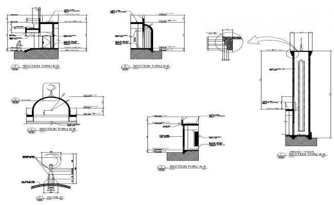 Section Plan of Mosque project