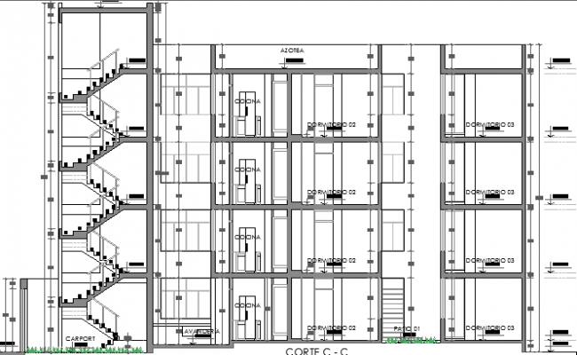 Section Plan of Multi-Family Housing Building dwg file