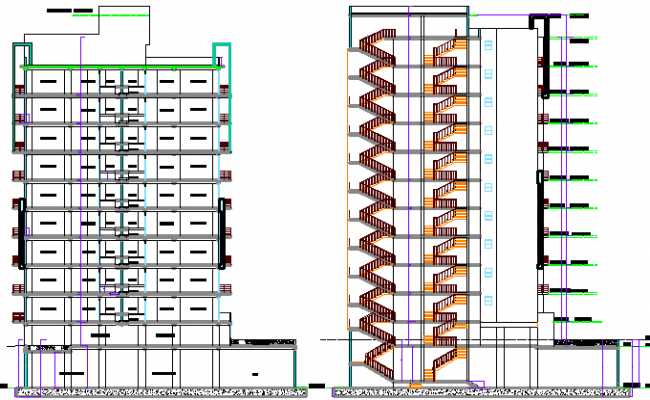 Multi-Flooring Housing Flats Section Plan Architecture Layout dwg file