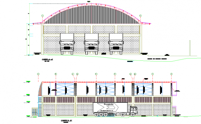 Section Project plans construction angara plan dwg file