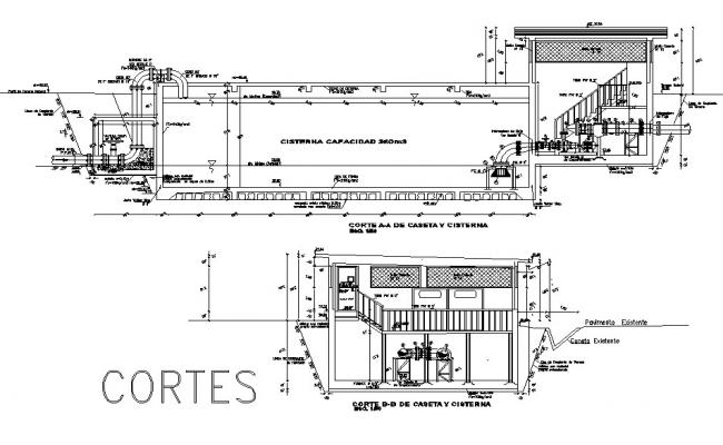 Section Pumping chamber plan detail dwg file