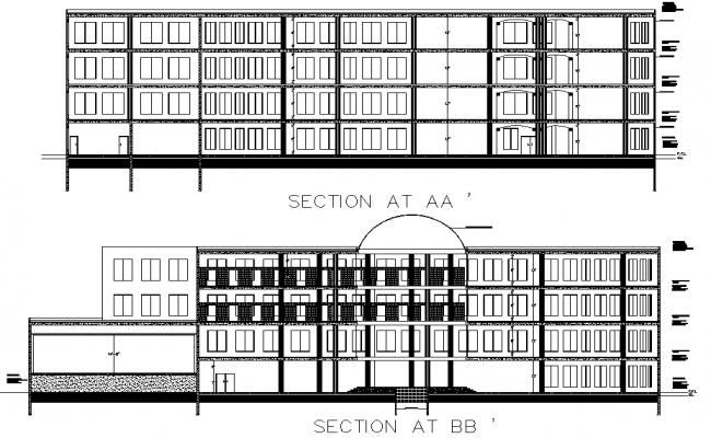 Section Scientific center plan detail dwg file