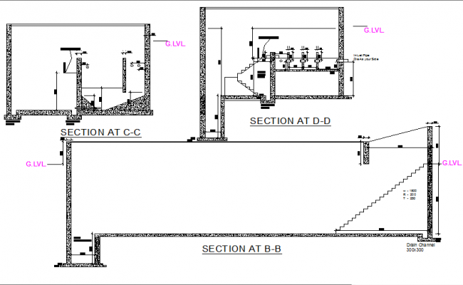 Section Sewage treatment plan detail dwg file