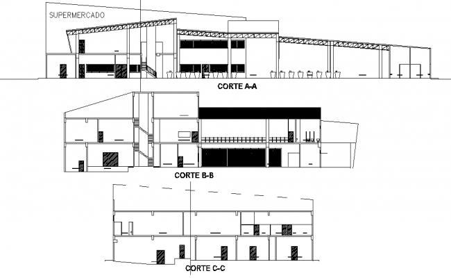 Section Super market autocad file
