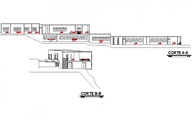 Section Technological innovation center plan detail dwg file