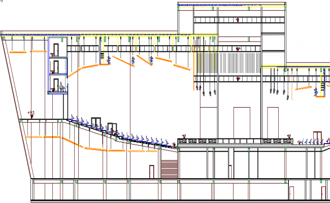 Section and Elevation of Auditorium Hall Architecture Design dwg file