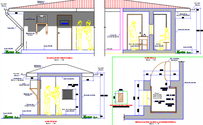 Section and elevation audiometer cabin plan detail dwg file