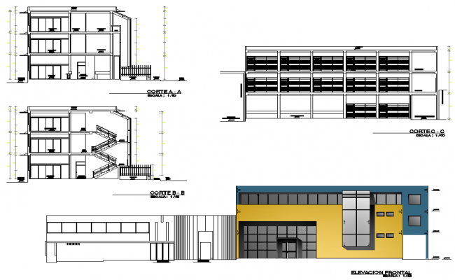 Section and elevation city hall lajoya arequip dwg file