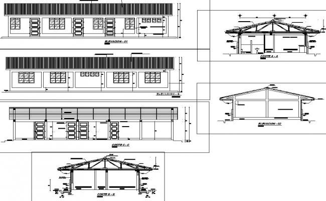 Section and elevation detail dwg file