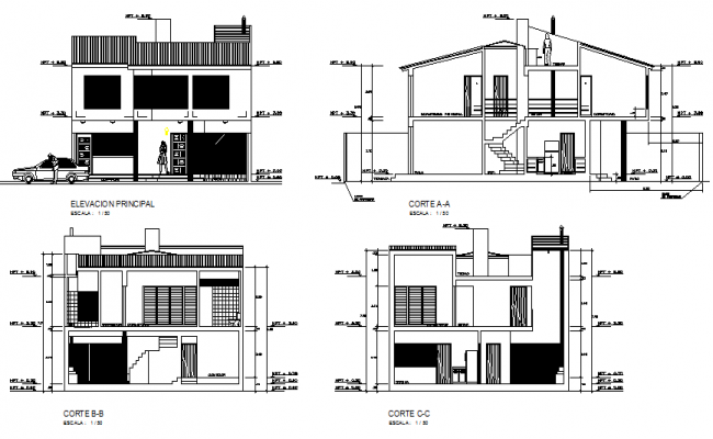 Section and elevation house dwg file
