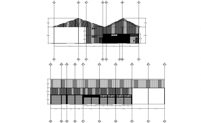 Section and elevation industrial plant juice processing detail dwg file