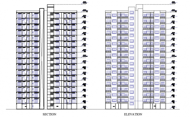 Section and elevation municipal housing autocad file