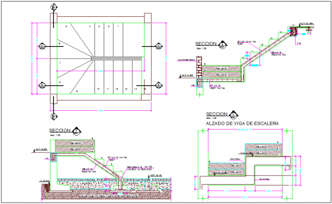 Section and elevation of stair with construction detail dwg file