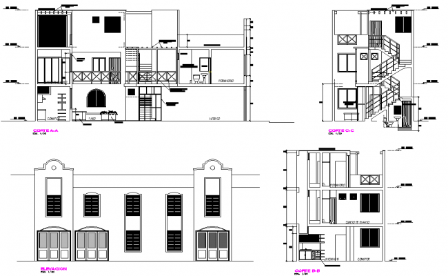 Section and elevation single family home plan autocad file