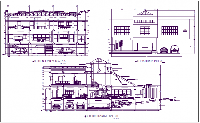 Building Elevation View : Section and elevation view of office building detail dwg file