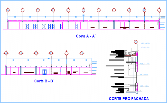 Section and elevation view with different axis for clinic dwg file