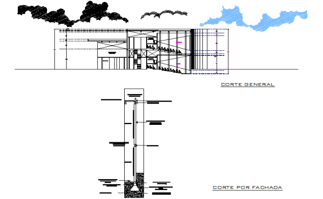 Section and foundation detail dwg file