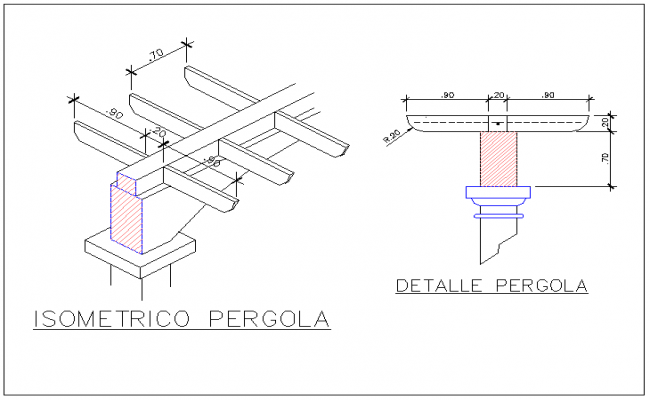 Section and isometric view of  structure in detail dwg file