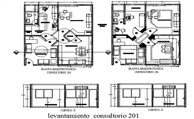 Section and plan clinic detail dwg file