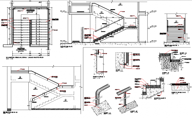Section and plan stair detail dwg file