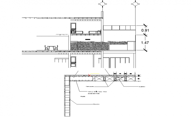 Section and steel framing detail plan detail dwg file