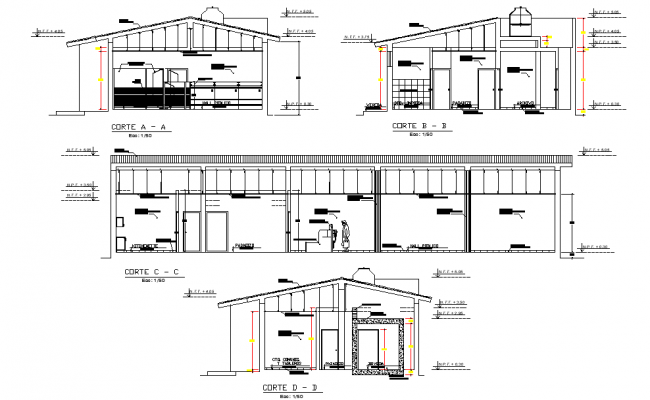 Section bank office plan detail dwg file