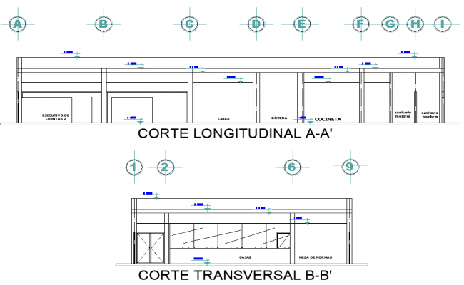 Section bank plan detail dwg file