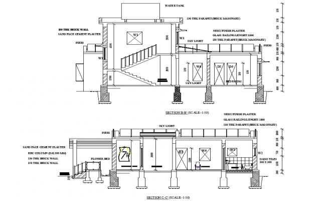 Section bungalow plan detail dwg file