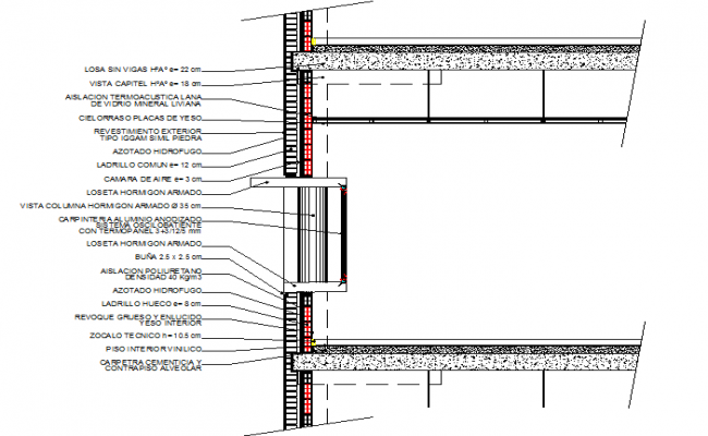 Section by facade detail dwg file