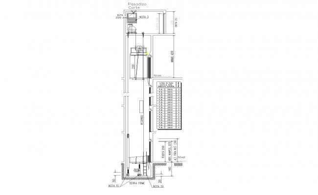 Section by passage way of elevator