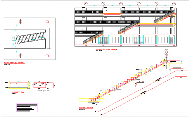 Section central staircase structure design