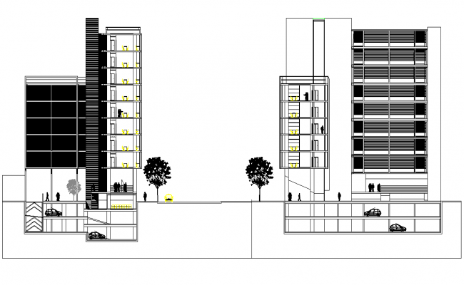 Section commercial building plan detail dwg file