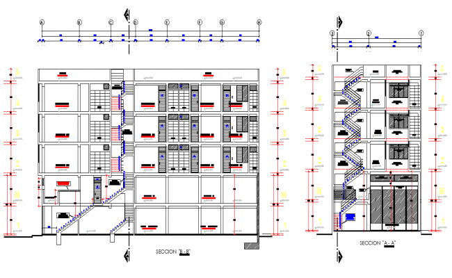 Section commercial building plan layout file