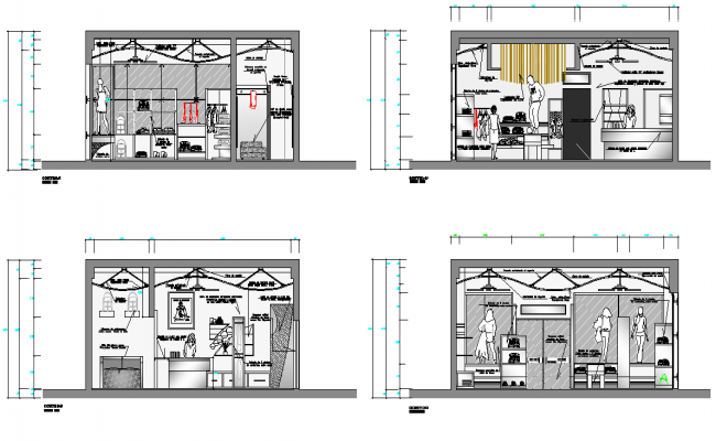 Section commercial shop detail dwg file