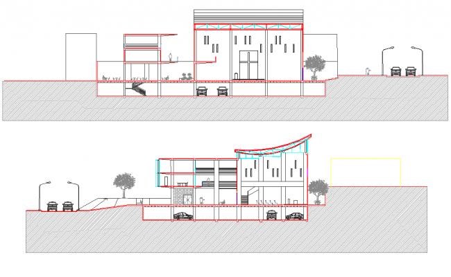 Section community center plan dwg file