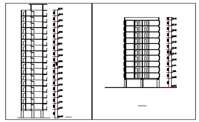 Section design drawing of Armed police residential flat