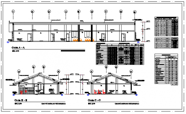 Section design drawing of Health center in rural area design drawing