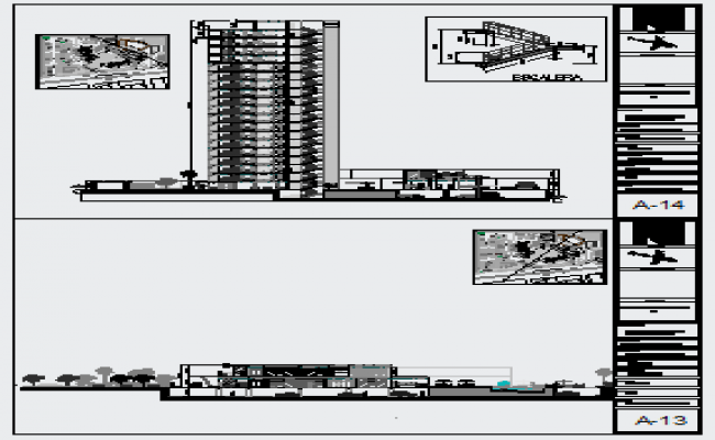 Section design drawing of High rise building residential house