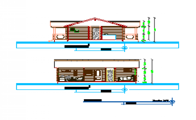 Section design drawing of House design drawing