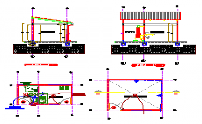 Section design drawing of Kitchen and bathroom design drawing