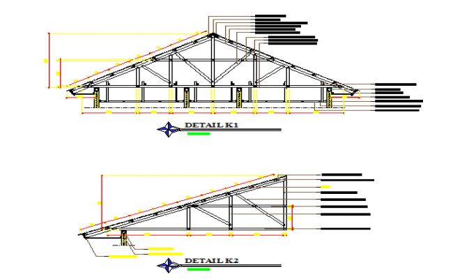 Section design drawing of Roof trust design drawing