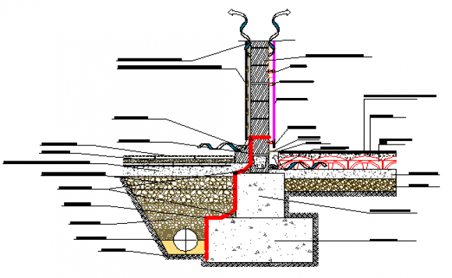 Section design drawing of front ventilated design