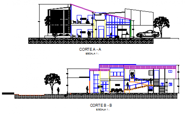 Section design drawing of ophthalmologist prevention center design drawing