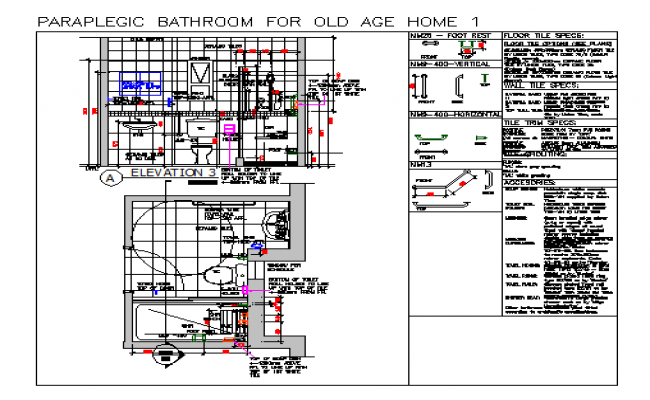 Section detail drawing of bathroom for old age design drawing