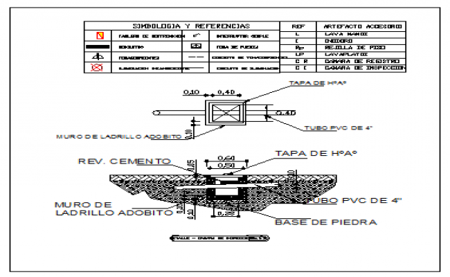 Section detail drawing of inspection chamber design drawing