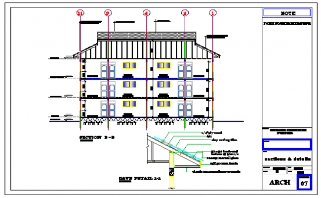 Section detail drawing of residential building design drawing